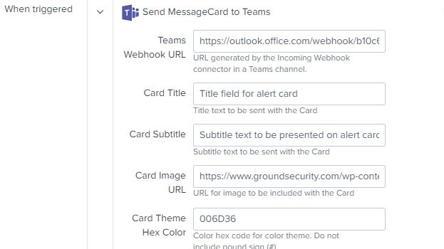 Configure Teams Card Alert settings